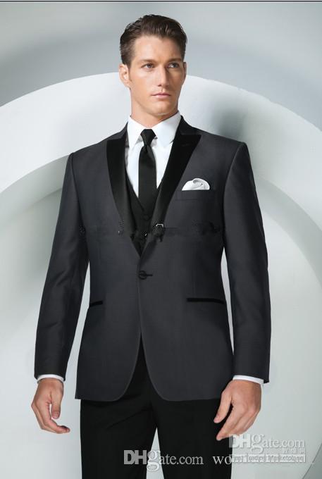 Brand New Groom Tuxedos Charcoal Grey Peak Lapel Best man Groomsman Men Wedding Suits Prom/Form/Bridegroom Jacket+Pants+Tie+Vest+Hanky