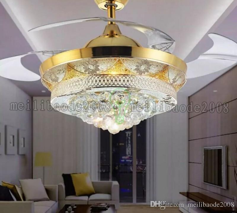Modern Luxury LED Crystal Ceiling Fans Light Gold for Living Room Bedroom 42 Inch Invisible Blades Ceiling Fan Lamp Chandeliers Lighting MYY