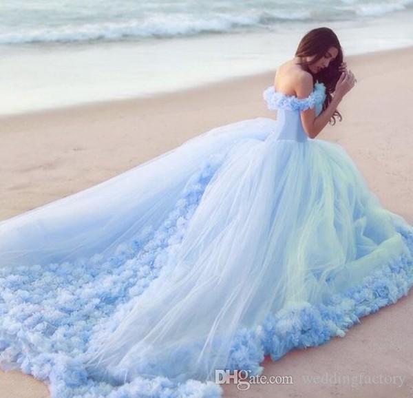 Abiti da sposa colorati Abiti da sposa al largo della spalla Fiori fatti a mano Corsetto Pizzo su schiena Rosa chiaro blu pesca abito da sposa