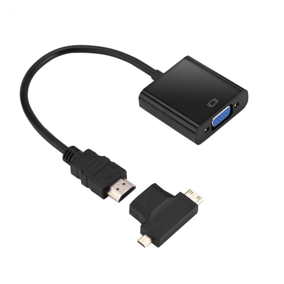 Freeshipping Male to Female HDMI to VGA Cable T-Type Micro+Mini HDMI Converter connector for PS3/PS4 STB PC Laptop Tablet