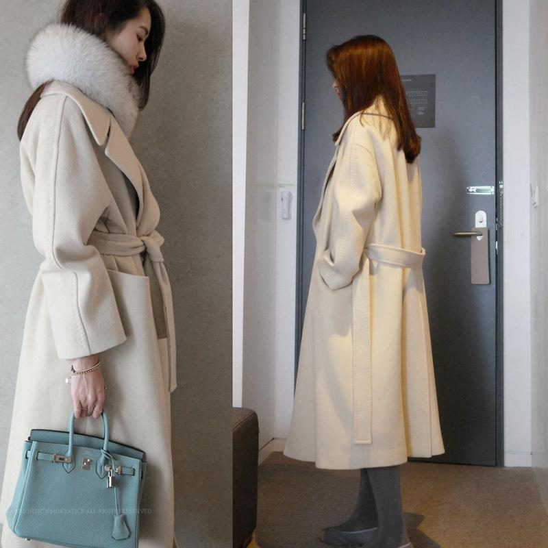 Plus Rozmiar Luźne Beżowe Damskie Kurtki zimowe i Płaszcze Długie Wełniane Płaszcz Kobiet Odzież Turn-Down Cardigan Płaszcz Wuj1048