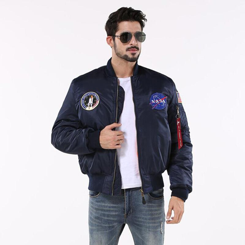 Wholesale Thicken MA1 Mens Bomber Jacket NASA Pilot Brand Clothing  Windproof US Style Army Waterproof Winter Jacket Men Coat Pink Coats And Jackets  Mens ... c34d81caee12