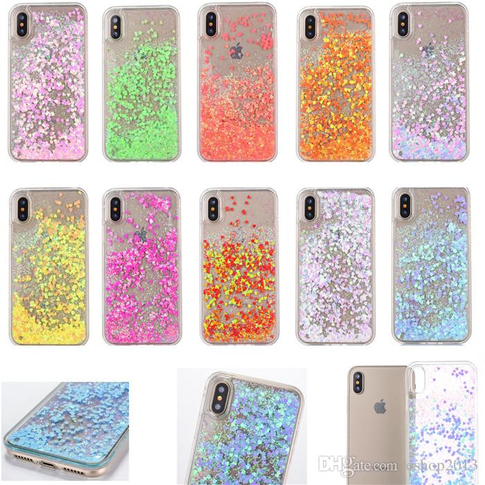free shipping 3a5b8 e224e Glitter Moveing Love Case Cover For iPhoen x iX Brushed Quickstand Soft TPU  Transparent Liquid Shining Bling Phone Back Covers