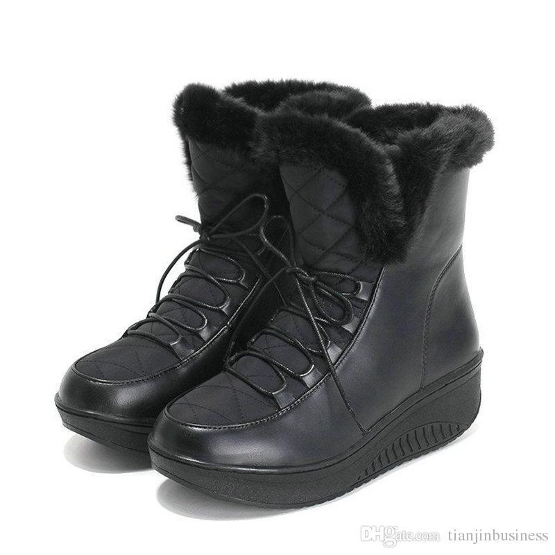 114d68a4c Zapatos casuales de invierno para mujer Botas de nieve con cordones de piel  Botas altas de cuña Zapatos de tacón de plataforma con cordones Botas de ...