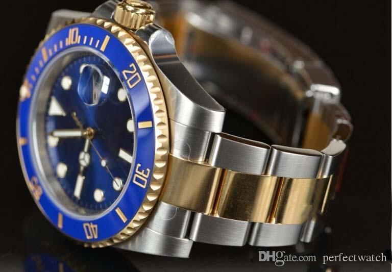 New 40mm Watch Blue Ceramic Gold Steel Unworn Automatic Mechanical self wind movement Stainless Sapphire Man Watch Wristwatches