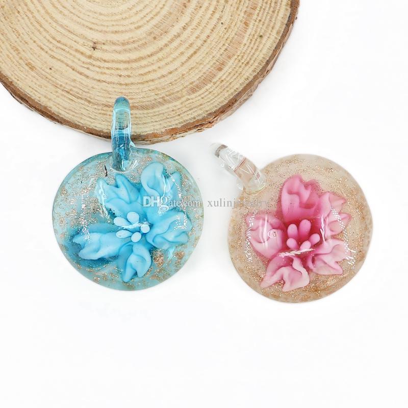 fused 3d flower glass pendants flat round heady lampwork handmade necklaces pendant for diy box mc0080 fused glass pendant inner flower pendant heady - Heady Glass Pendants