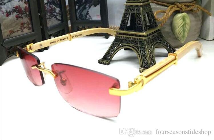 남성 편광 물소 뿔 안경 2018 대형 대나무 나무 패션 선글라스 회색 갈색 투명 렌즈 lunettes의 gafas를 무테