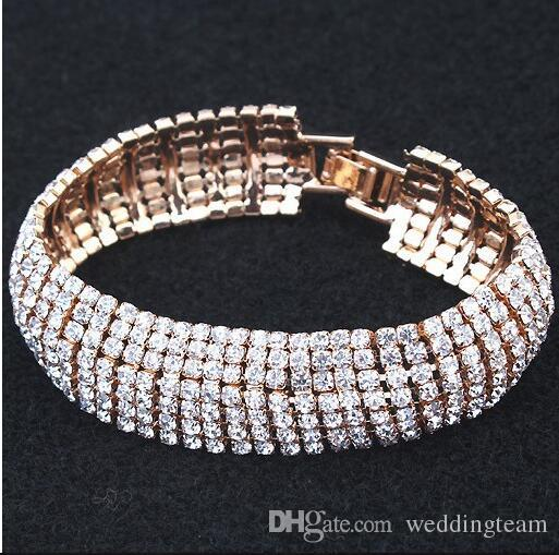 New Arrival Luxury Rhinestones Stretch Bangle Wedding Bracelets Bridal Jewelry Cheap Crystals Bracelet For Bride Evening Prom Party