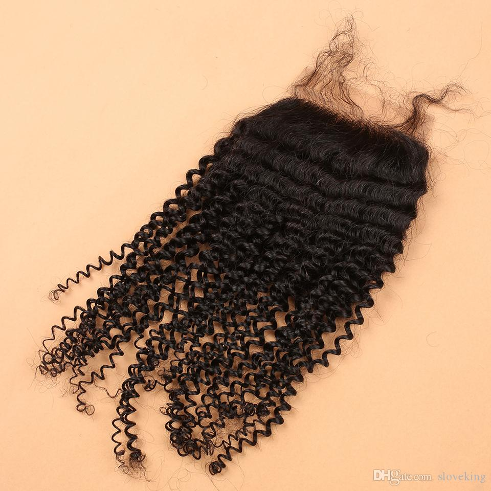 7A Virgin Mongolian Kinky Curly Closure,100% Human Hair Lace Closure 4x4,Slove Hair Products,Natural Color 1B Bleached Knots