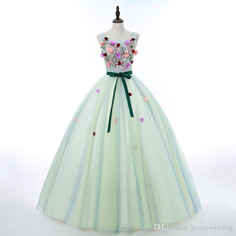 Mint Green Ball Gown Prom Dresses Cheap 2017 New Quinceanera Dresses ...