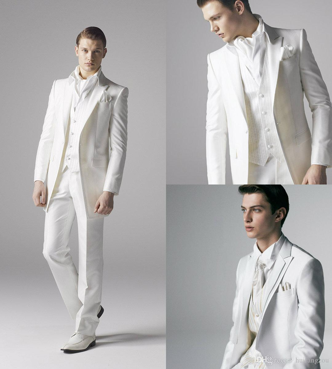 Smart X Long White Groom Tuxedos Groomsmen Custom Made Two Pieces ...