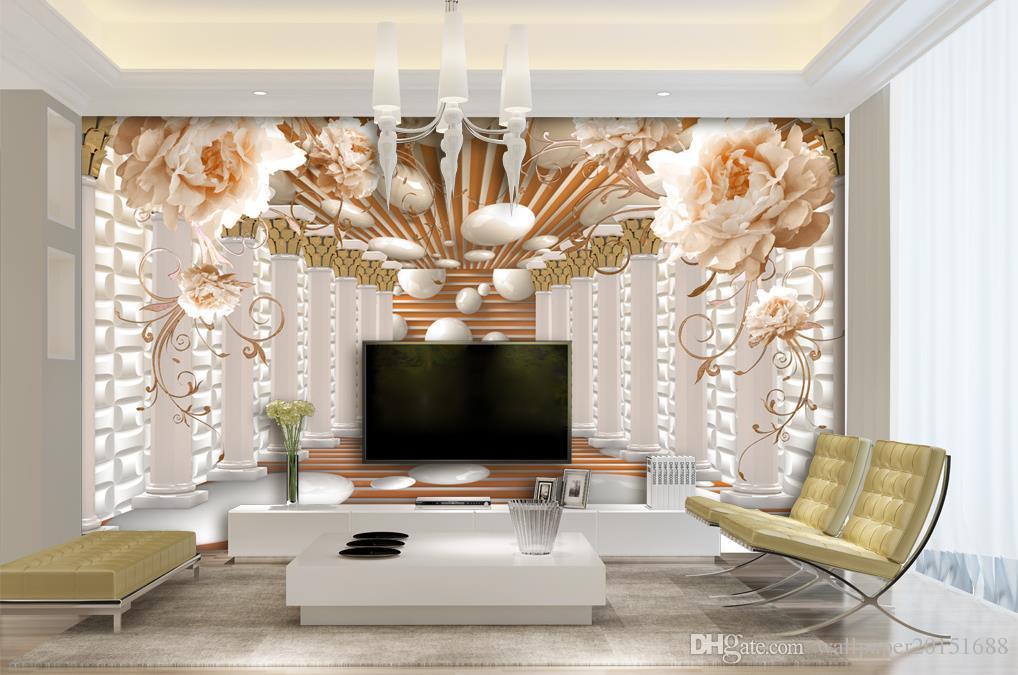art colonne romaine peintures murales de fond mur fleur fleur murale 3d fond d'écran 3d papier peint pour toile de fond TV