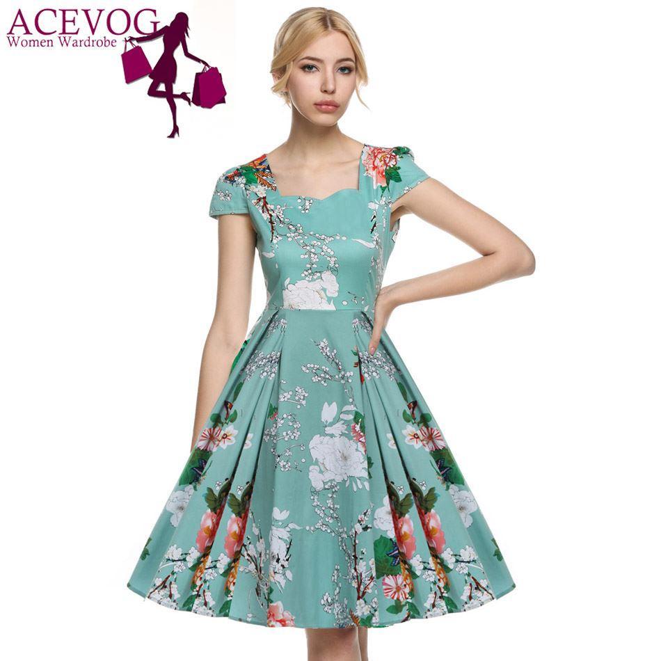 2017 Vestidos 1950\'S Vintage Style Women Elegant Cap Sleeve Floral ...