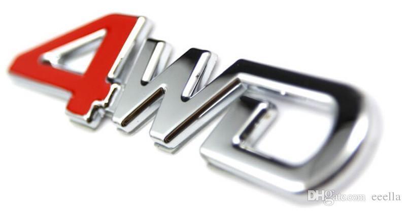5 unids 3D ABS Chrome 4WD Emblema Badge Sticker 4WD Calcomanía Accesorios pegatinas deportivas para Toyota Highlander para NISSAN X-Trail Xtrail