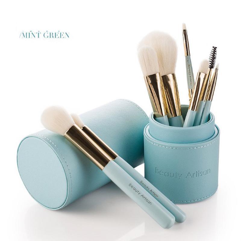 8 unids / set Cosméticos juego de cepillos de viaje de maquillaje pinceles de alta calidad de pelo sintético mango de madera con cilindro