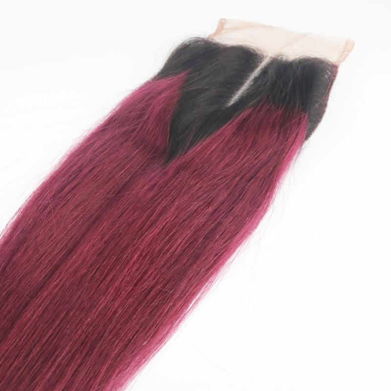 Ombre Brazilian Virgin Hair Bundles With Lace Closure T1b 99j Two Tone Straight Human Hair Weaves Closure Double Weft Extensions