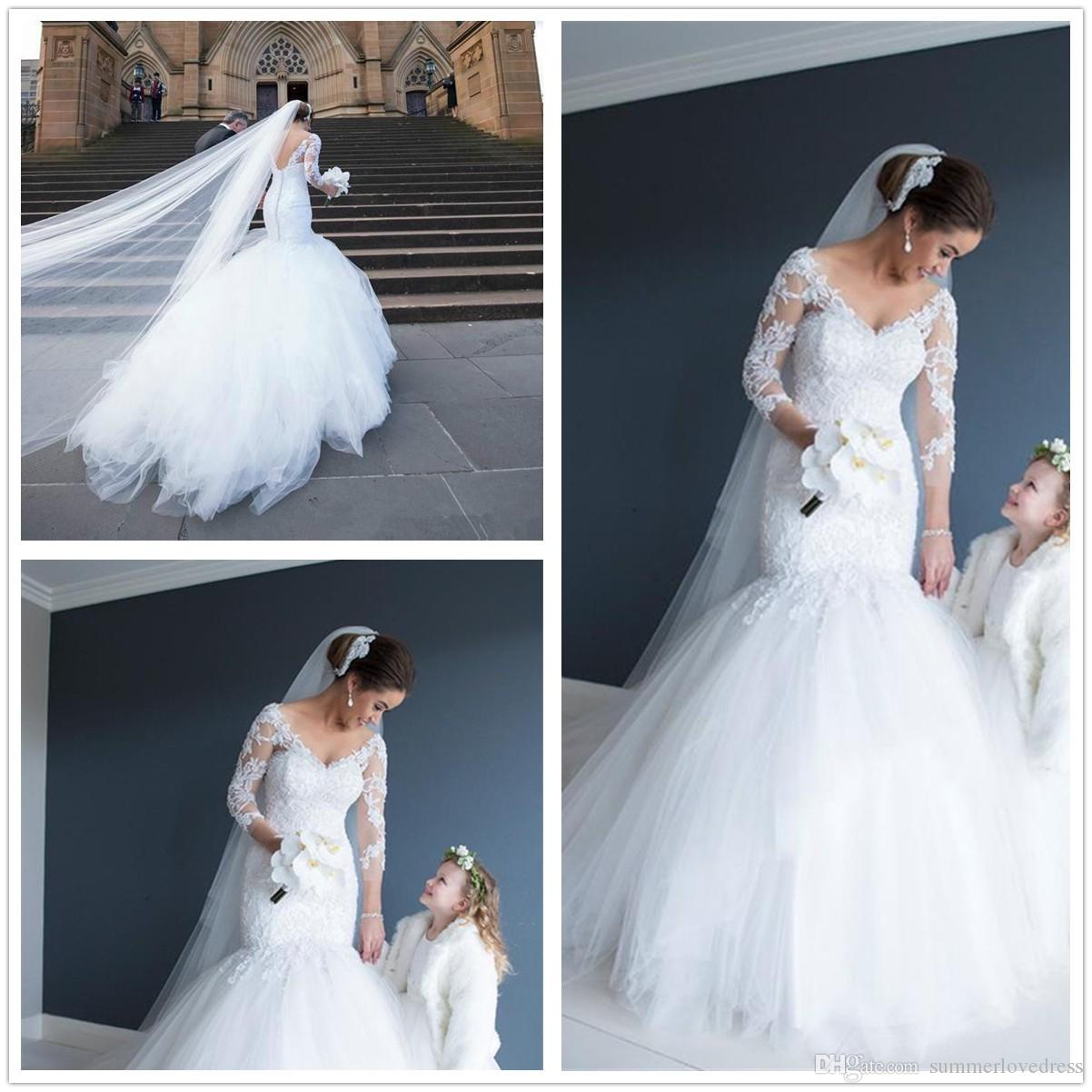 2017 Sexy V Neck Long Sleeves Lace Mermaid Wedding Dresses Tulle Applique Low  Back Court Train Bridal Wedding Gowns With Buttons Princess Wedding Dresses  ... 7e8a5dc88