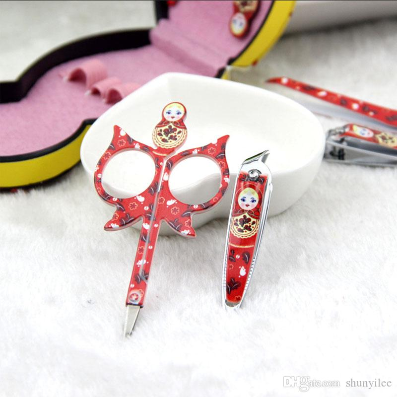 Manicure & Pedicure Set Cute Nail Clippers Scissors Grooming Tools Ear Pick Tweezers Russian Doll Nail Care Tool Set ZA1646