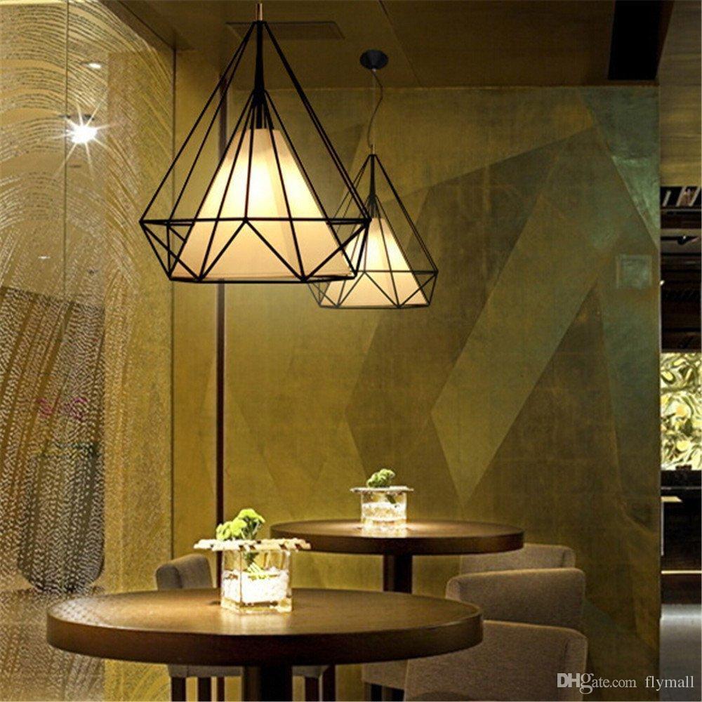 Candelabro de Luz de Teto Industrial Do Vintage Gaiola de Pássaro Pingente de Iluminação Arte Pirâmide De Diamante Pingente Lâmpadas para Cozinha Sala de Jantar Bar Corredor