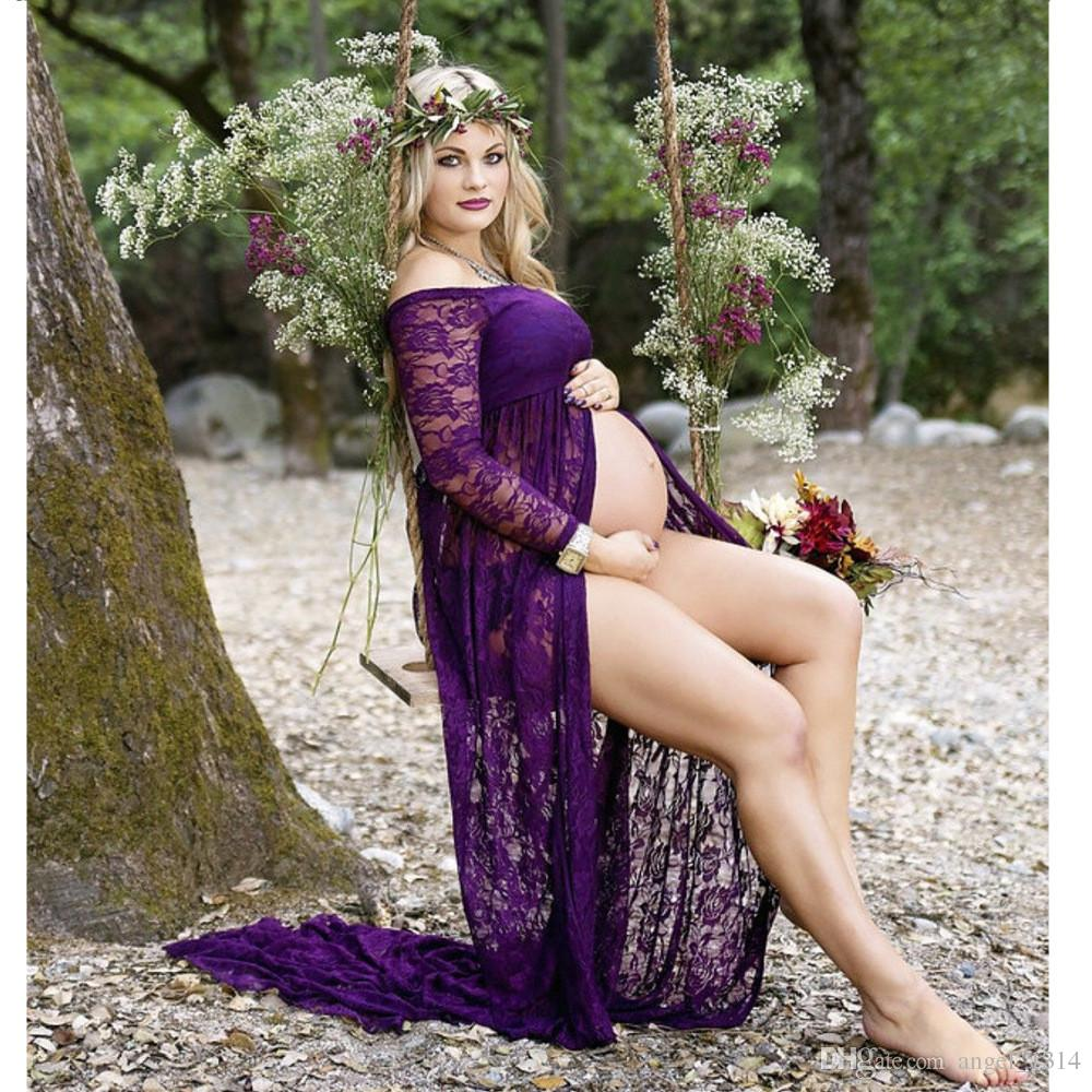 2017 Maternity Photography Props Lace Sweet Heart Pregnancy Clothes Maternity Dresses For pregnant Photo Shoot Clothing