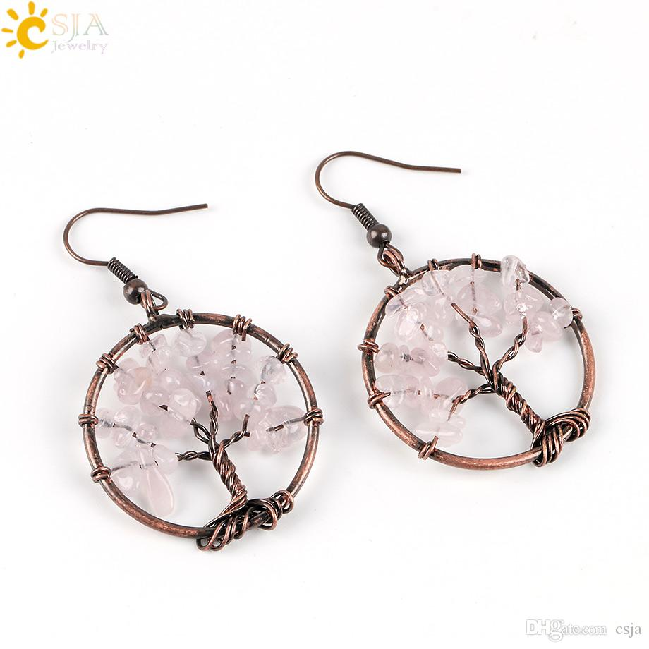 CSJA Wholesale Vintage Color Dangle Earrings for Women Round Tree of Life Ear Drop Natural Health Rainbow Gemstone Bead Classic Jewelry E529