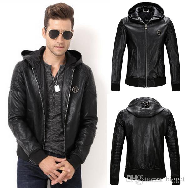 0d64933e140 2019 Hooded Leather Coat Men 2017 New Slim Fit Hood Biker Leather Jacket  Tops Man 78 Metal Patch From Bigget