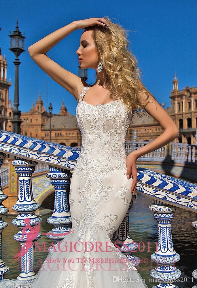 Oksana Mukha Mermaid Wedding Dresses 2019 Square Illusion Bodice Lace Ruffled Court Train Vintage Garden Beach Wedding Party Bridal Gowns