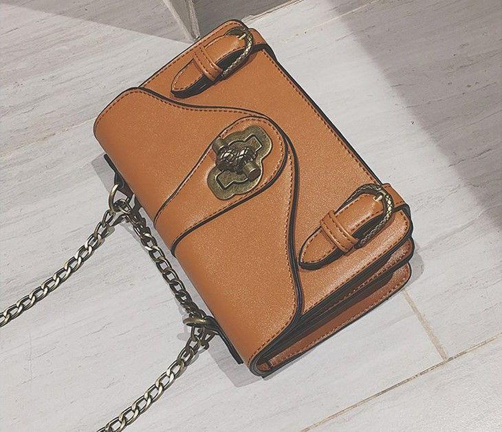 2017. Lock catch. Small. Mini. Metal chain. Fashion casual bag. Women's Bags. Female. Girl. Mobile phone bag. Cross Body.Shoulder Bags. PU.