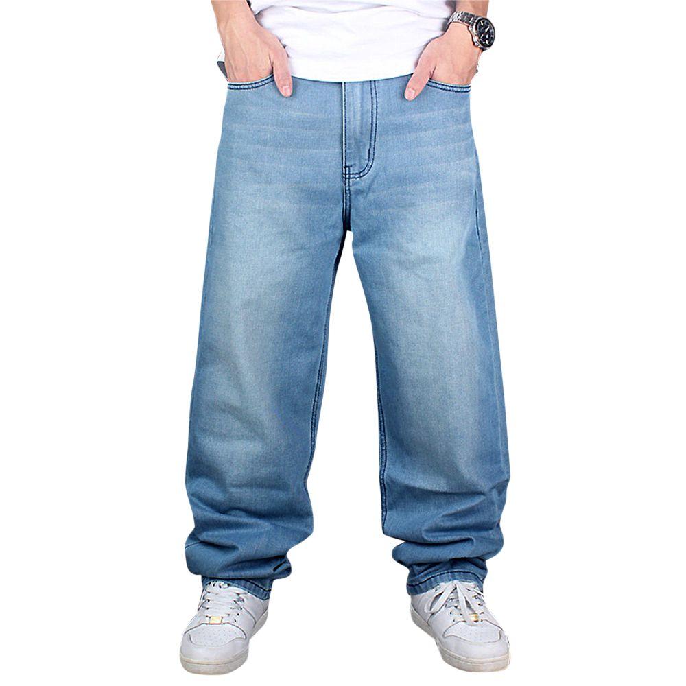 Compre Atacado 2016 Homens Hip Hop Jeans Homens De Skate Baggy Jeans Denim  Hit Hop Calças Moda Casual Solto Jeans Rap Street Wear 30 42 De Genguo c8e49d389b0