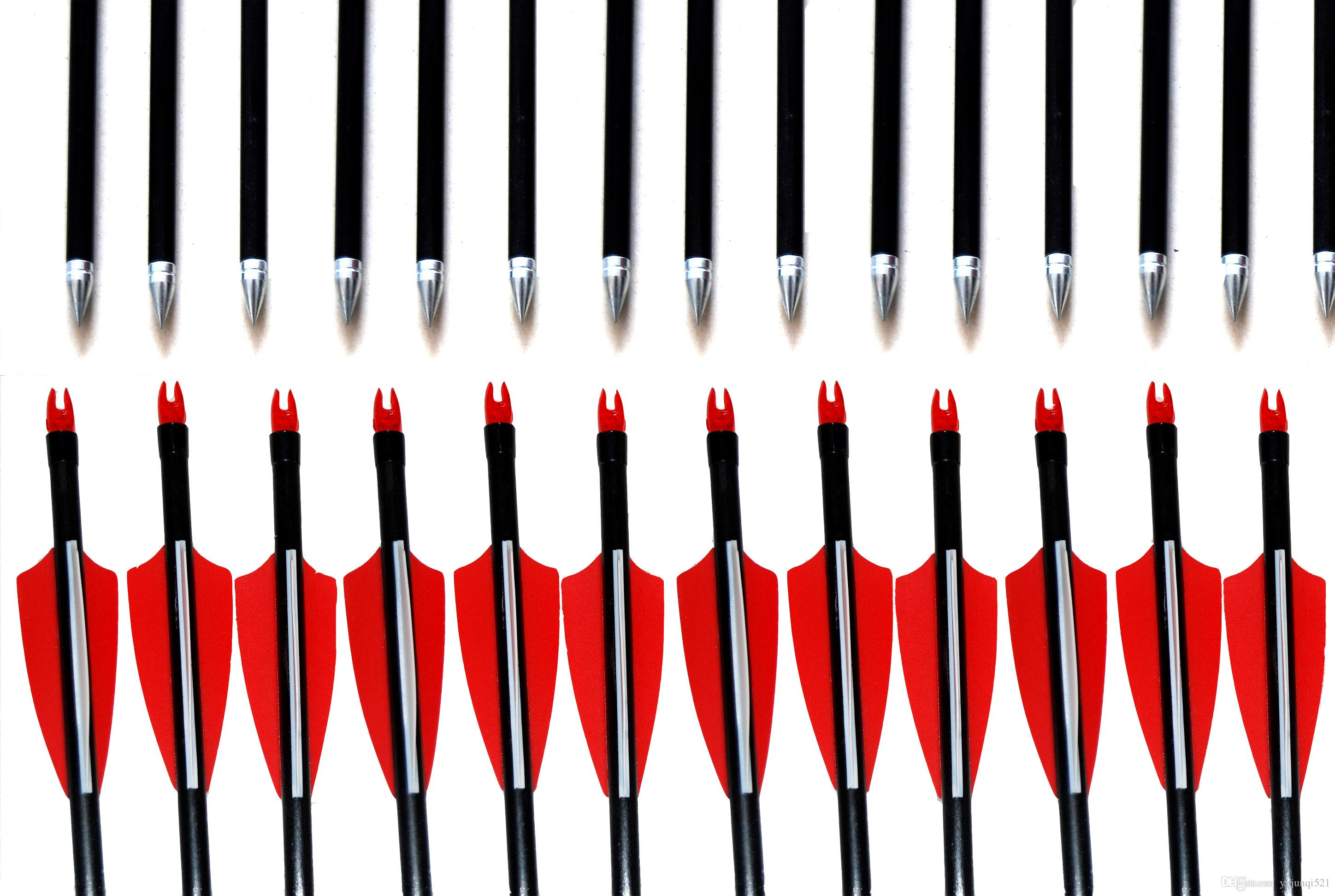 12PCS/lot 31.5-28 inches FIBREGLASS ARROWS FOR COMPOUND OR RECURVE BOW TARGET FIELD POINT