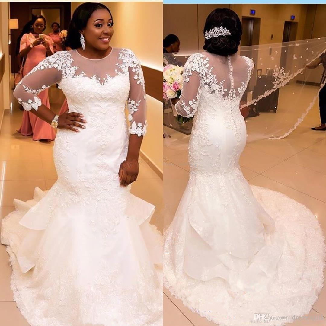 23279a6c63c Plus Size Wedding Dresses With Sweep Train Button Back Sheer Jewel Neck 3 4  Sleeves African Bridal Gowns Wedding Dress Lace Wedding Dress Sale From ...