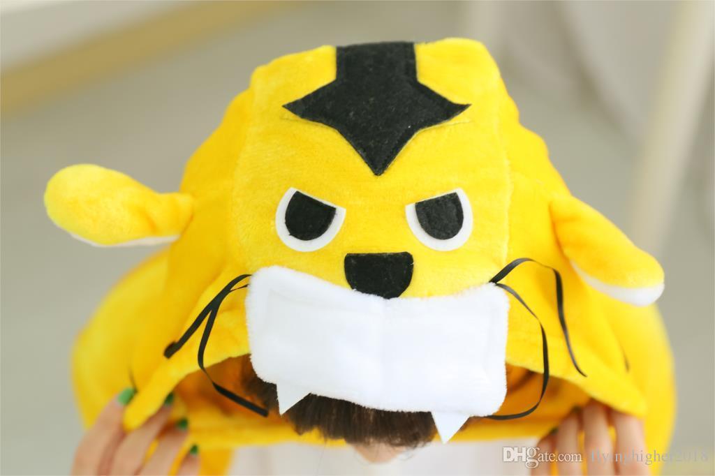 Animal lindo pijama tigre amarillo dibujos animados cosplay prenda de invierno hogar del sueño desgaste del hogar franela con cola pijama unisex