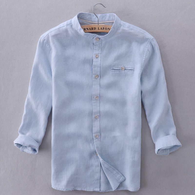 Compre Al Por Mayor Italia Marca Camisas Hombres Lino Cielo Azul Moderno Sólido  Camisa Hombres Casual Tres Cuartos Manga Camisa Para Hombre Moda Verano  Mens ... 534b6e9c0d7c5