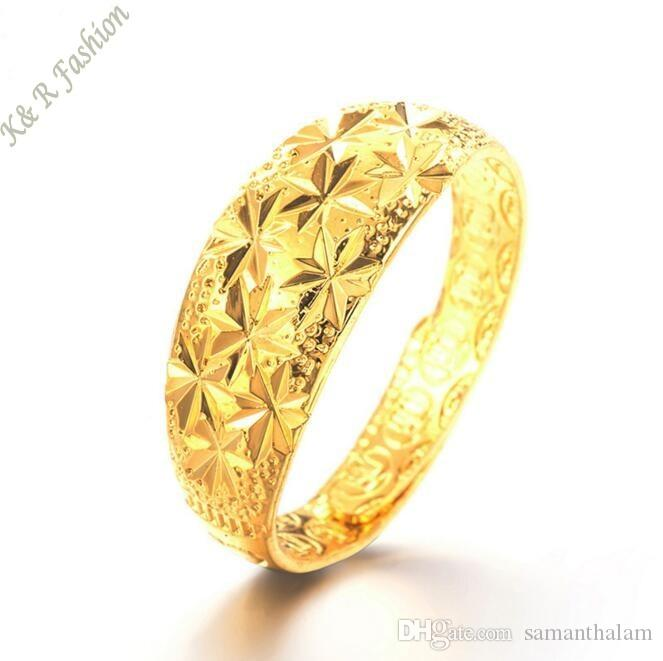 2017 NEW Design Gold Star Rings for Women 24K Gold Plated Dubai