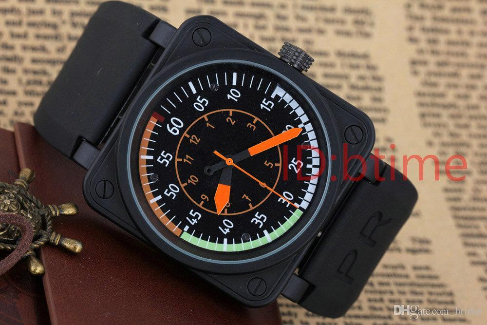 Wholesale BBR-01 AIRSPEED NOUVELLES BELL AVIATION FLIGHT MENS ÉDITION LIMITÉE Montres BLACK CAOUTCHOUC ACIER INOXYDABLE ORANGE JAUNE BLEU montres