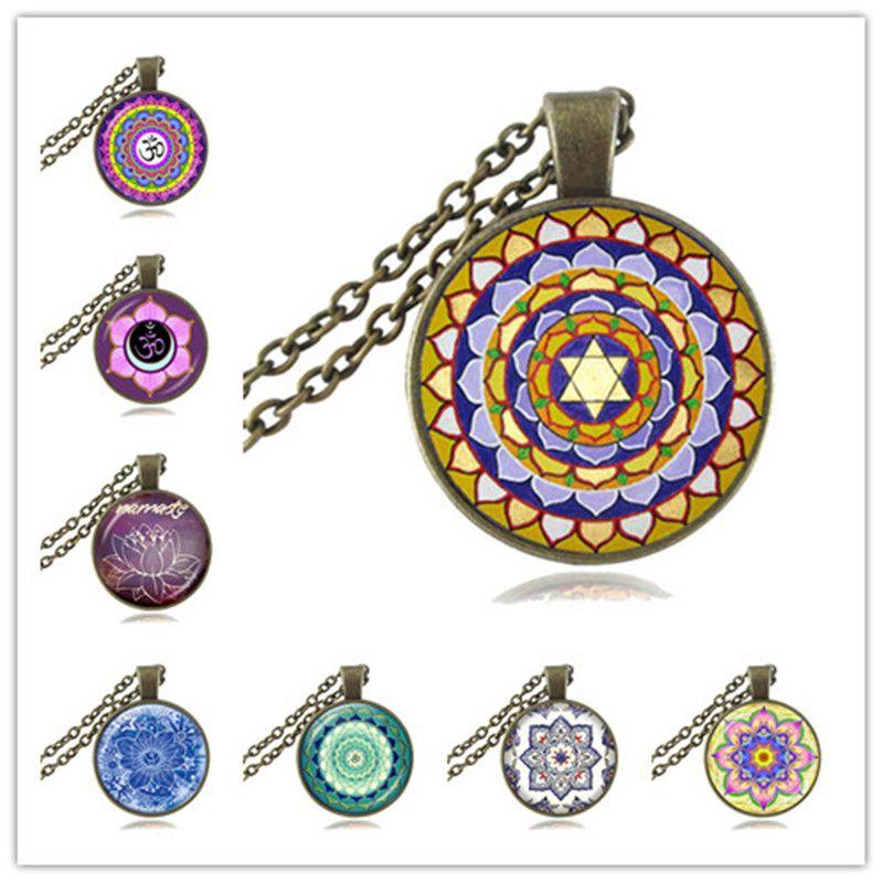 Wholesale Mandala Necklace Om Symbol Pendant Glass Cabochon Fashion