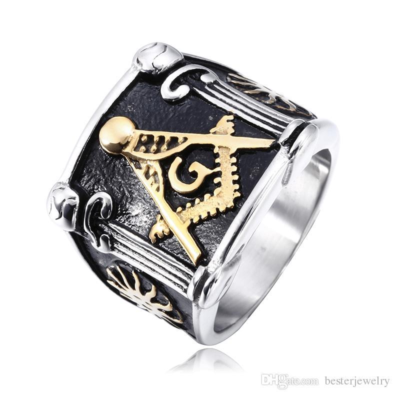 mixed size Steel/Gold men's ring jewelry 316l stainless steel Masonic freemasonry signet rings