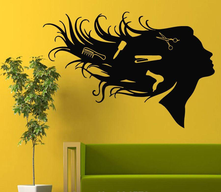 Girl Comb Hairdressing Hair Beauty Salon Wall Art Sticker Decal Home ...