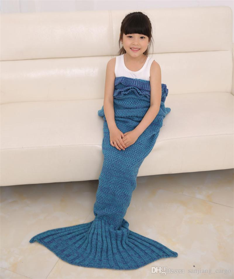 90*50cm Baby Mermaid Tail Blanket Handmade Wave Crochet Knitting Blankets Seasons Warm Soft Living Room Sofa TV Sleeping Bag for Kids Teens