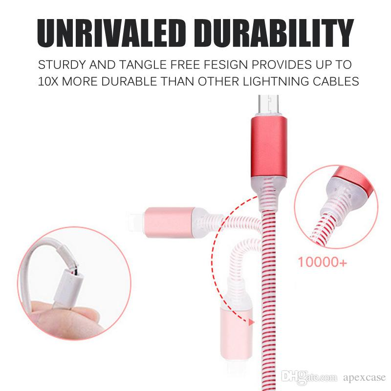 Micro USB V8 Charger Cable LED Light for Samsung Galaxy S7 S6 S8 LG Data dragon line Flashing 1M Charging Cords