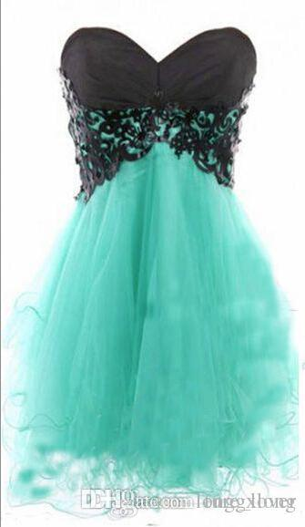 Cheap mint green strapless homecoming dresses with black lace top corset back A line puffy mini short party prom dresses 2017