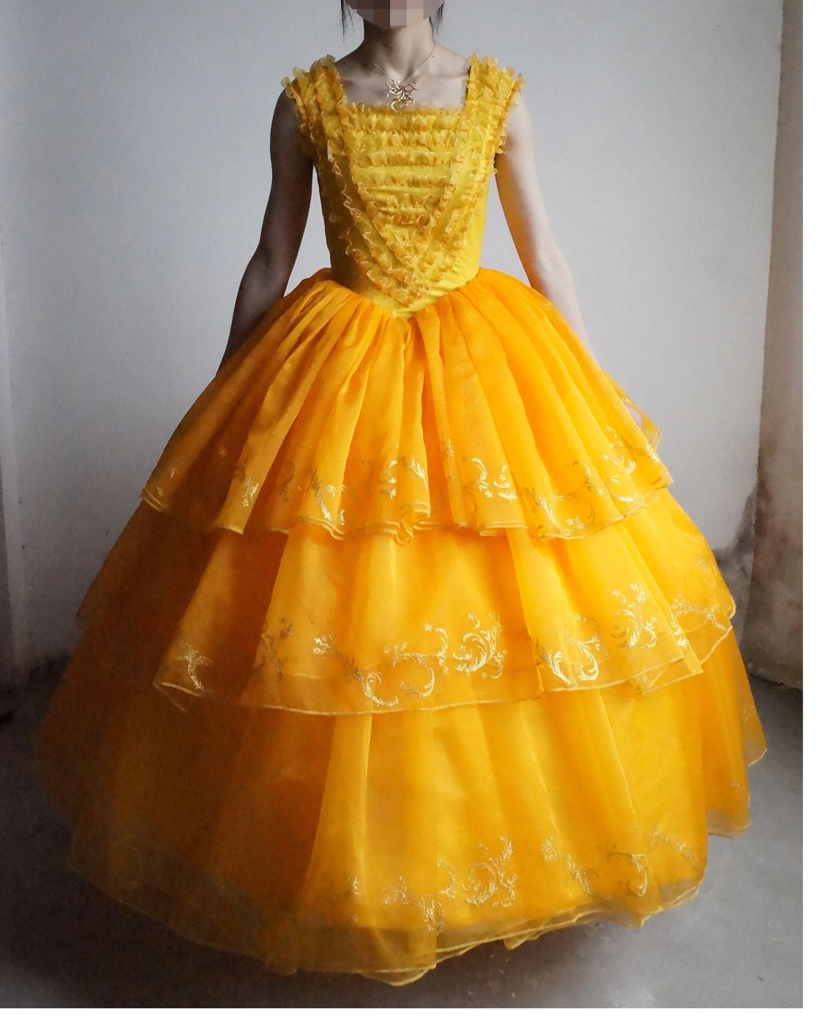 58e6bab9e02 Free Ship Organza 100%real Yellow Ruffled Belle Glitter Princess Dance Ball  Gown Beauty Beast Cosplay Renaissance Victoria Belle Ball Halloween Costumes  For ...