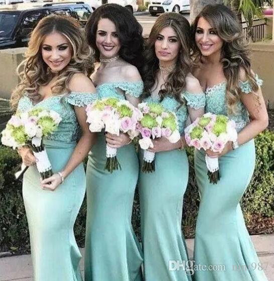 Sexy Boat neckline Lace Mermaid Bridesmaid Dresses 2017 New Mint Lace Top Maid Of Honor Gowns Summer Beach Wedding Guest Dresses Custom Made