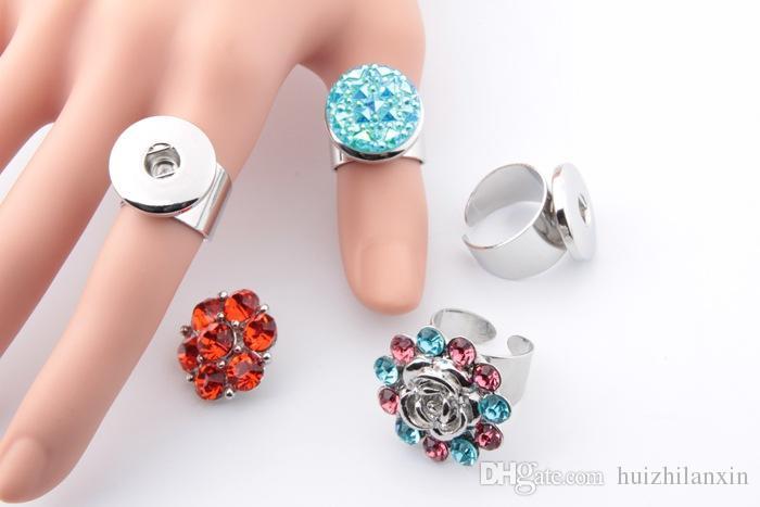 10 pz argento regolabile 18mm con bottone a pressione con anello gioielli con bottoni