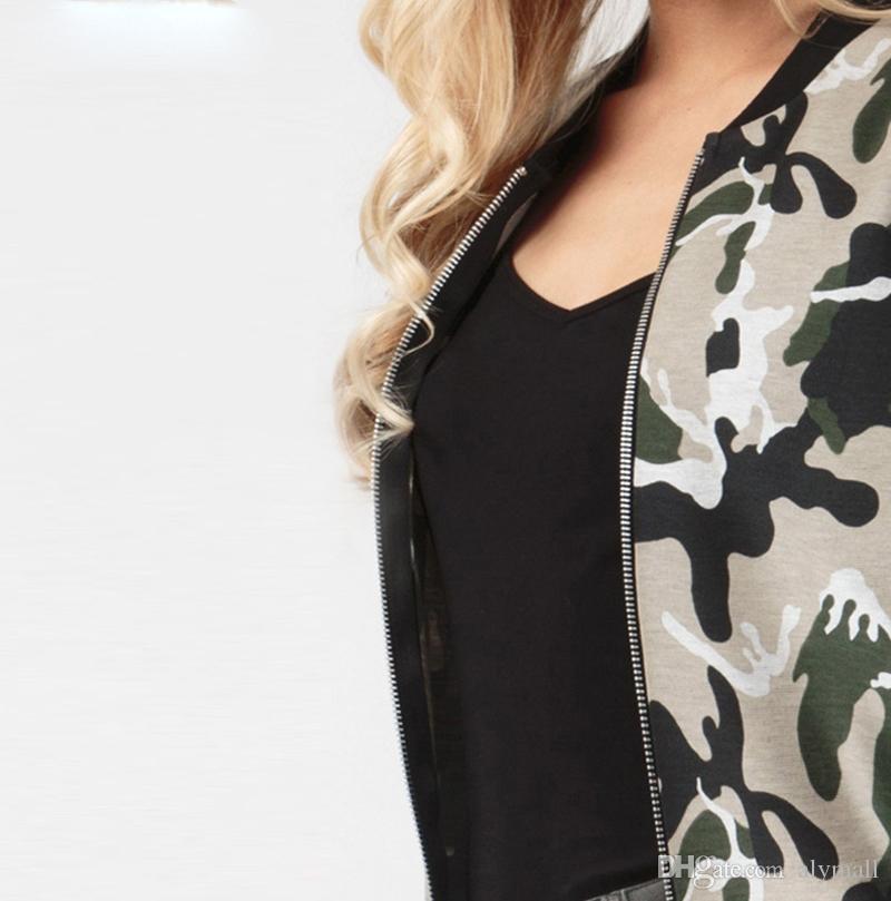 Verde do exército das mulheres bombardeiro Blusão Brasão vôo Suit Casual Imprimir Revestimento bordado Patches Mulheres Coats Jacket