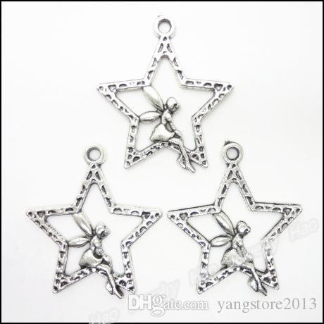 nuovo tibetano argento tono stella angelo ragazza fata pendenti gioielli pendenti gioielli fai da te 30x25mm creazione di gioielli