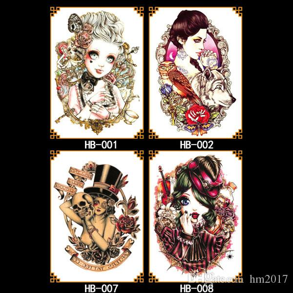 Taty Large Temporary Tattoos Body Art Men Women Fashio Beauty figure color tattoo stickers Wholesale