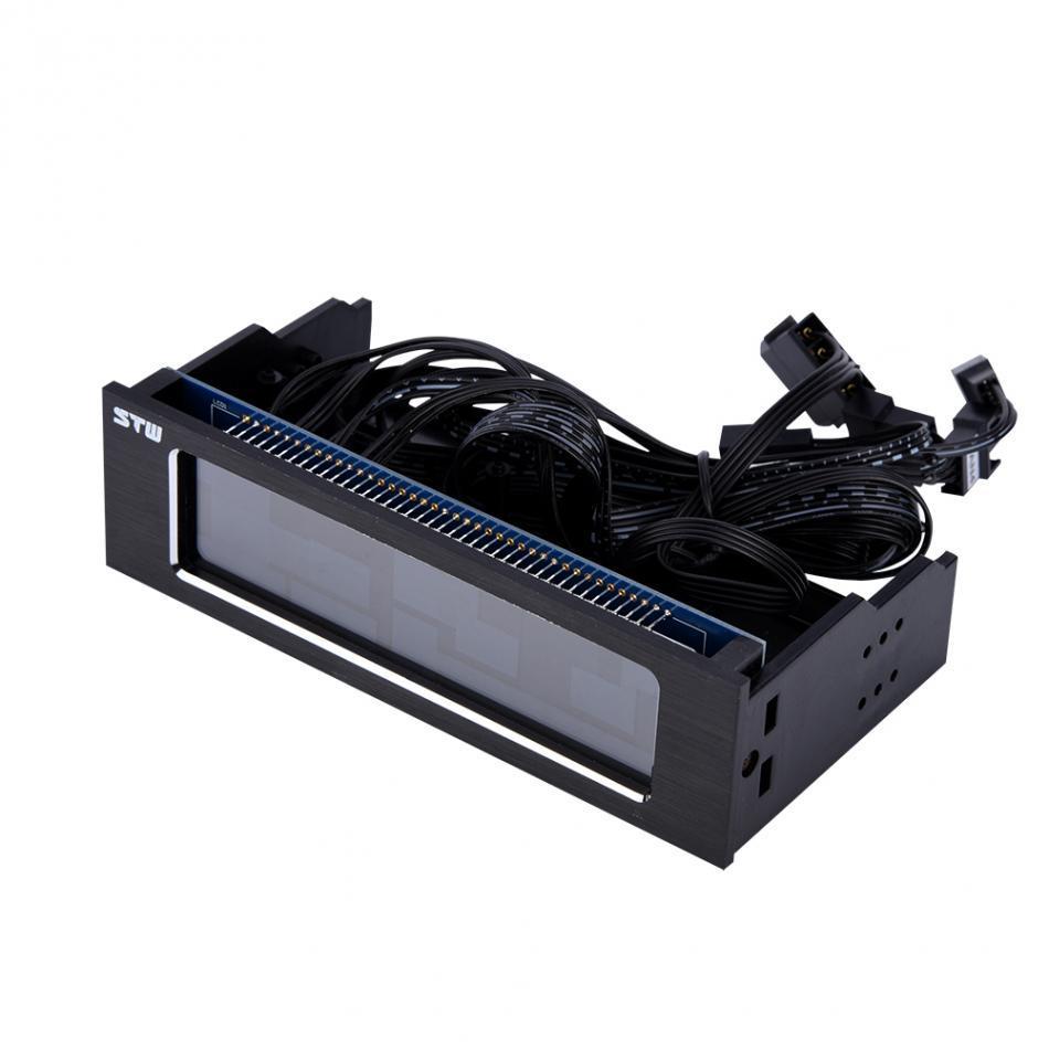Freeshipping 컴퓨터 4-Fan 속도 컨트롤러 CPU 온도 센서 3PIN + 4PIN 인터페이스 컴퓨터 냉각 드라이브 전면 LCD 패널