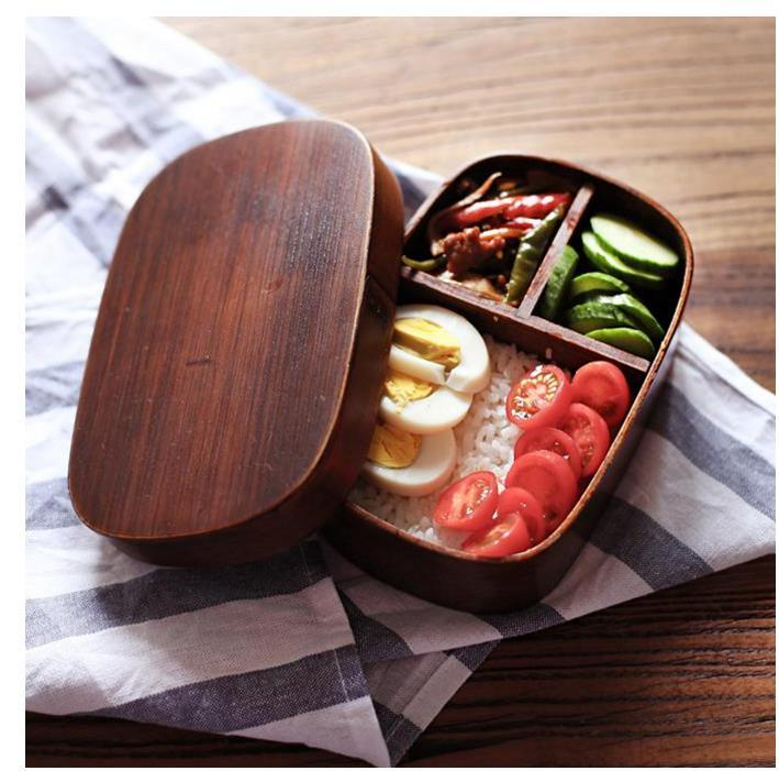 Japanese Bento Boxes Wood Lunch Box Handmade Natural Wooden Sushi Tableware Bowl Food Container French Country Style Dinnerware Sets Funky