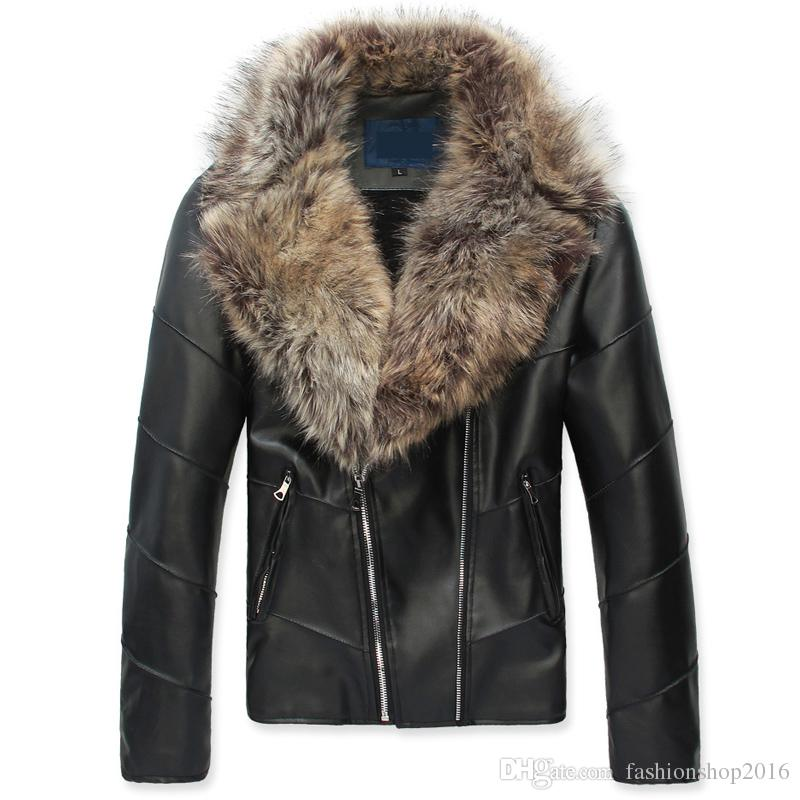 2017 Winter Jacket Man Leather Jacket Large Fur Collar Luxury ...